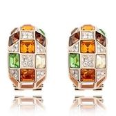 水晶耳環 925純銀(耳針式)-彩色華麗生日情人節禮物女飾品3色73bd51【時尚巴黎】