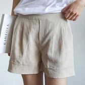 休閒棉麻褲反摺褲管 輕盈百搭高腰直筒亞麻短褲 艾爾莎【TGK5240】