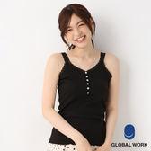 GLOBAL WORK女素色蕾絲圓領貝殼釦羅紋BEAUTEET恤上衣背心-四色