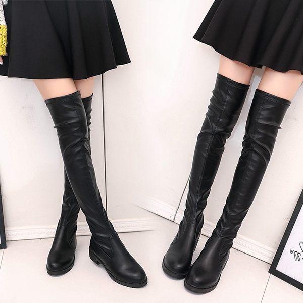 過膝長靴長筒靴子女春秋季顯瘦彈力瘦瘦靴高筒女靴平底鞋 優樂居生活館