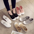 2021春季新款一腳蹬懶人鞋帆布鞋女百搭小白鞋夏學生平底休閒板鞋 韓國時尚週