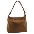 【奢華時尚】BOTTEGA VENETA 駝色編織皮革肩背斜背兩用包(八五成新)#25179