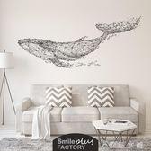 遨游的鯨魚電視背景墻貼紙創意客廳沙發墻壁裝飾臥室床頭貼畫自粘igo 伊鞋本鋪