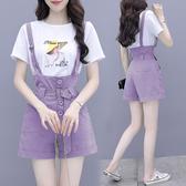 VK精品服飾 韓國風紫色氣質時尚背帶短褲套裝短袖褲裝