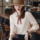 莫蘭迪不皺免燙簡單設計秋冬上衣襯衫(未含領結)[21X123-PF]美之札
