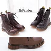 [Here Shoes]4色 男款 嚴選8孔高質感高品質全牛皮超耐磨透明牛津底 馬丁鞋  馬汀靴 軍靴─KV886-1G