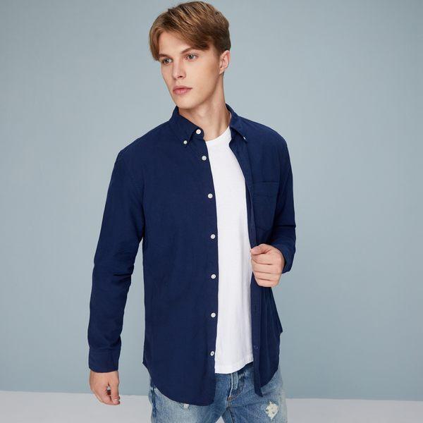Gap男裝 純棉單袋扣領男士長袖襯衫 柔軟襯衣男 603550-暗夜海軍藍