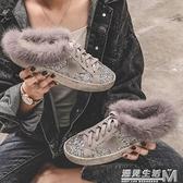 毛毛拖鞋女外穿歐洲站毛拖毛毛鞋新款包頭半拖鞋女棉拖穆勒鞋 聖誕節全館免運