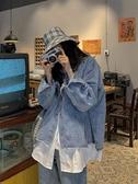 牛仔外套 港風假兩件牛仔外套女學生bf寬鬆網紅夾克潮春秋大碼ins超火上衣 韓國時尚週
