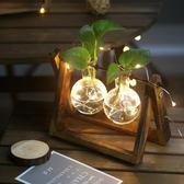 創意水培綠蘿植物透明玻璃容器簡約現代小清新花器客廳擺件裝飾品gogo購