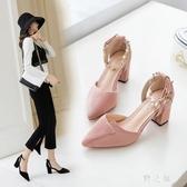 高跟鞋 涼鞋女2019夏季新款大碼粗跟百搭中跟時尚仙女風少女 qz1951【野之旅】