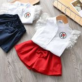 夏季新款兩件套女童字母刺繡上衣襯衣蝴蝶結短褲套裝時尚潮衣 草莓妞妞