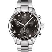 TISSOT天梭 韻馳系列計時石英錶(T1166171105701)黑灰面鋼帶/45mm