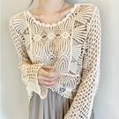 韓版chic很仙的披肩夏季配裙子長袖防曬上衣女鏤空針織罩衫蕾絲衫 黛尼時尚精品