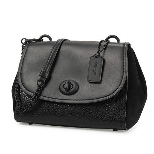 COACH 荔枝紋皮革拼接麂皮旋扣翻蓋斜背包(黑色)195341