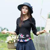 中國風大尺碼長版上衣 女民族風女裝 繡花長袖修身顯瘦T恤 打底衫