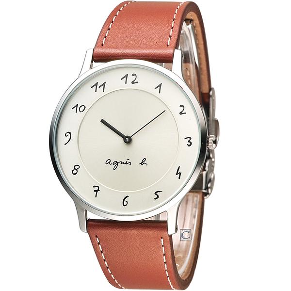 agnes b.法式優雅手寫體時標時尚腕錶 VJ20-K240J BJ5006X1