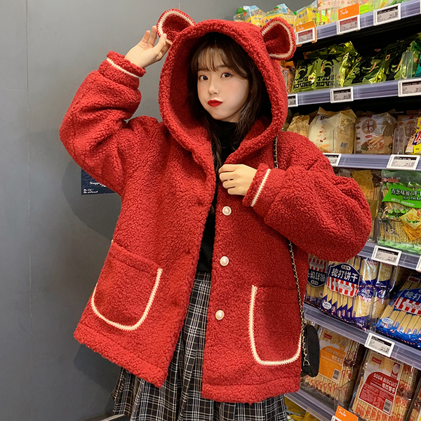 VK旗艦店 韓國風羊羔毛外套加厚連帽單品外套