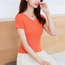 冰絲上衣 夏季冰絲短袖t恤女修身短款高腰v領性感橘色小個子薄款上衣針織衫【快速出貨】