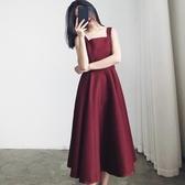 無袖洋裝2020新款無袖吊帶連身裙女夏韓版學生赫本風法式復古氣質高腰長裙 JUST M