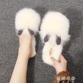 毛鞋 兔耳包頭拖鞋女韓版水鉆兔毛半拖平底毛毛鞋穆勒鞋 蓓娜衣都