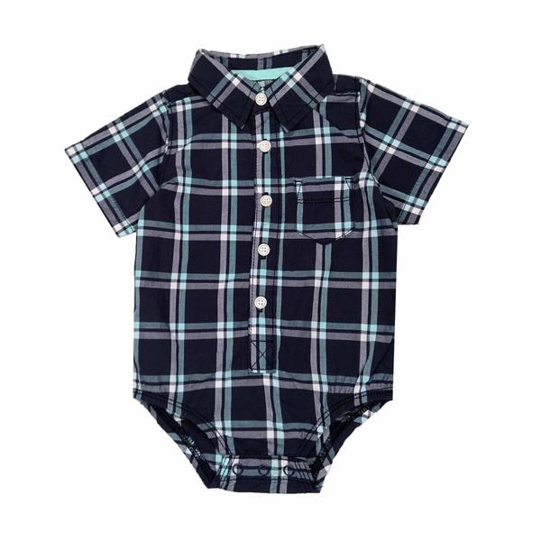 男寶寶短袖包屁衣 紳士西裝連身衣 深藍 | Oshkosh童裝 (嬰幼兒/baby/新生兒)