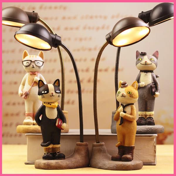【款式隨機】新年禮物 創意 貓咪 可愛 電池 小夜燈 樹脂裝飾 桌面 擺件 床頭燈 美樂蒂