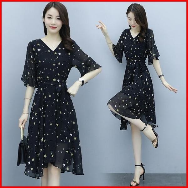 韓國風短袖洋裝 短袖雪紡連衣裙女收腰顯瘦韓版氣質碎花連身裙  依多多