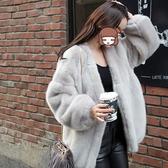 皮草外套仿水貂秋冬貂皮大衣女大碼中長款兔毛毛絨寬鬆開衫特價 城市科技