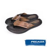 【PEGADA】巴西名品時尚真皮夾腳涼拖鞋  咖啡(131267-BR)