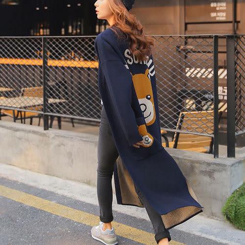 針織外套 艾爾莎 療癒卡通小熊字母印花開襟針織毛衣外套【TGK4073】