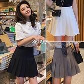 黑色百褶裙半身裙女春秋新款灰色夏季高腰白色西裝短裙