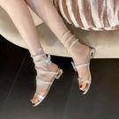 水鉆蛇形纏繞涼鞋女夏低跟2021年新款一字帶仙女風平底羅馬水晶鞋
