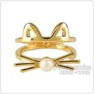 kate spade經典貓咪設計珍珠鑲飾雙環戒指(金)