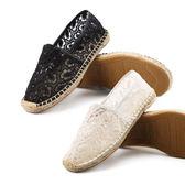 NKD 正韓空運 新品 時尚個性 蕾絲簍空款 兩色可選 草編鞋 平底鞋 懶人鞋