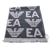 EMPORIO ARMANI 100%羔羊毛大字母LOGO雙面雙色圍巾(黑灰色)084065