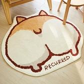 圓形地毯 可愛柯基地毯臥室圓形簡約毛絨卡通床邊毯可水洗客廳陽台異形地墊【618大促】