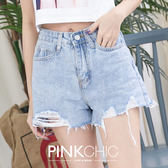 短褲 高腰粉口袋牛仔丹寧短褲 - PINK CHIC - 228791