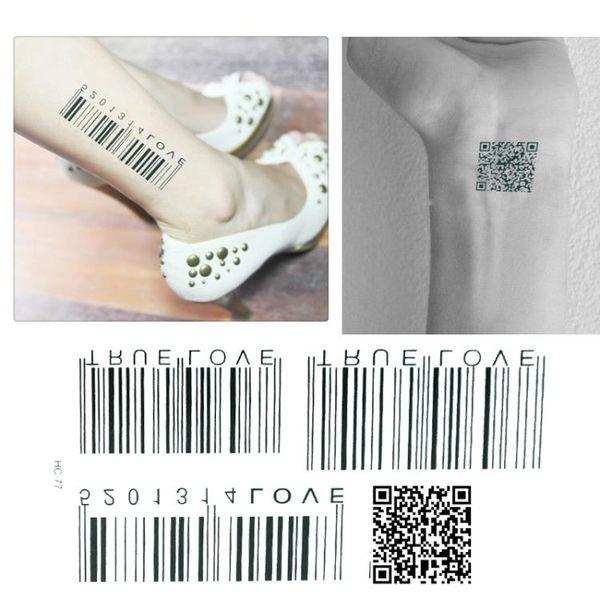 紋身貼個性條碼時尚潮款二維碼男女防水刺青紋身貼紙限量版-77【韓衣舍】