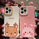 小鹿軟殼蘋果13 Pro手機套 蘋果全包創意13保護套 IPhone 13日韓手機殼 卡通兔子iPhone13 Pro Max保護殼