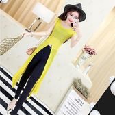 2018夏季新款女裝韓版氣質時尚薄款圓領短袖開叉中長款針織衫罩衫