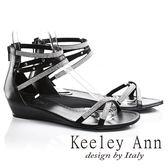 ★2017春夏★Keeley Ann極簡細鑽帶鉚釘真皮楔形涼鞋(黑色)
