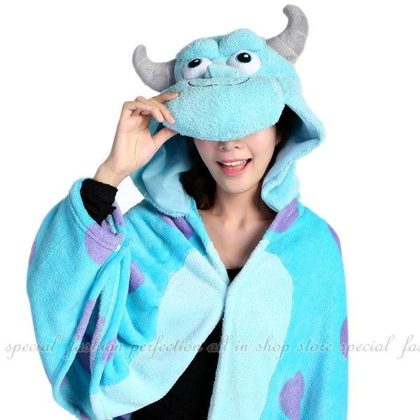 【DH145】『怪獸』加厚珊瑚絨披肩.袖毯 懶人斗篷睡袍 EZGO商城