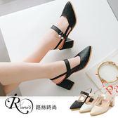 韓系時尚OL靚麗小水鑽扣環設計瑪莉珍高跟涼鞋/3色/35-43碼 (RX0963-18-6) iRurus 路絲時尚