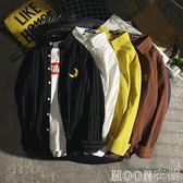 日系復古潮男條紋襯衫男休閒簡約長袖青少年刺繡韓版潮流襯衣     MOON衣櫥