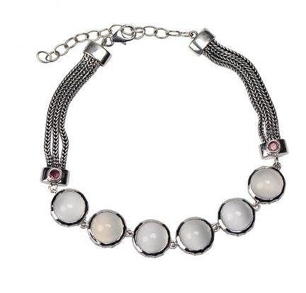 銀月光寶石銀手鏈 女士時尚簡約銀手鏈