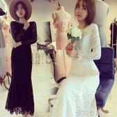 新款時尚名媛氣質性感顯瘦包臀露背蕾絲魚尾洋裝子女 卡布奇諾