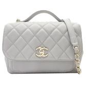 CHANEL 香奈兒 灰色牛皮淺金釦手提肩背2way包Flap Bag with Top Handle Bag BRAND OFF