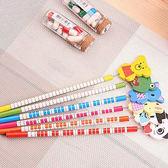 ✭慢思行✭【Q306】動物彈簧搖頭鉛筆(6支) 木製 文具 韓國 學生 辦公 閨密 禮物 繪畫 作業
