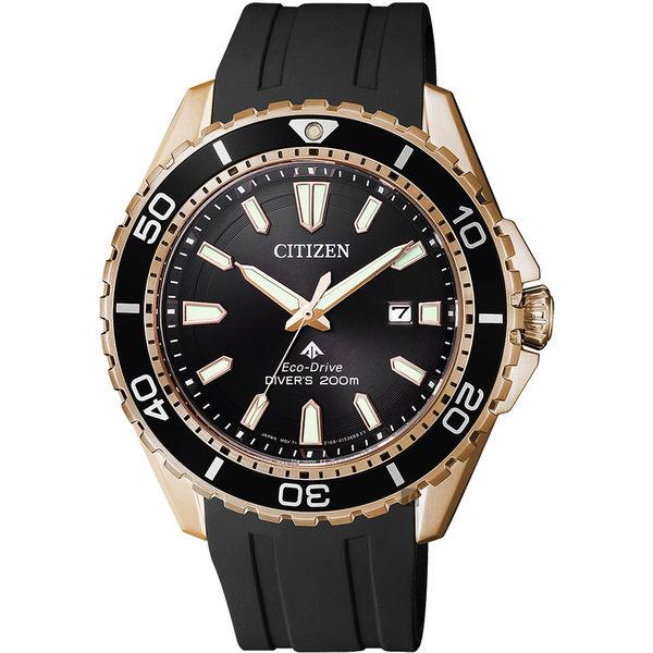 【CITIZEN 星辰】PROMASTER 光動能200米潛水錶-玫瑰金框/44mm BN0193-17E